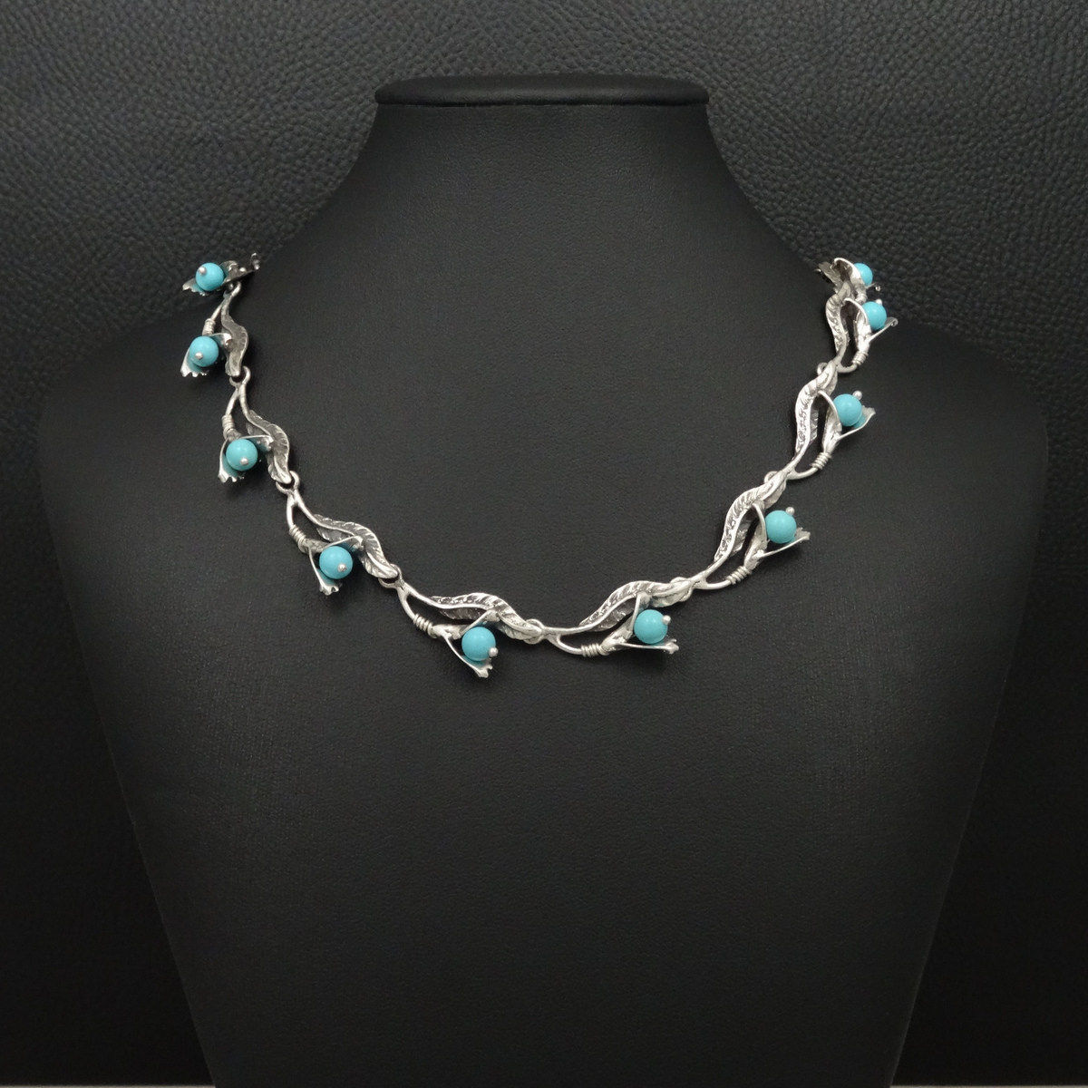 40da78ecfe2 Turquoise Necklace Victorian Style 925 STerling Silver Greek ...